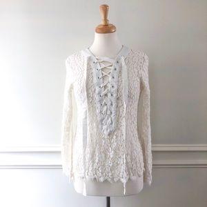 Endless Rose White Lace Up Shirt